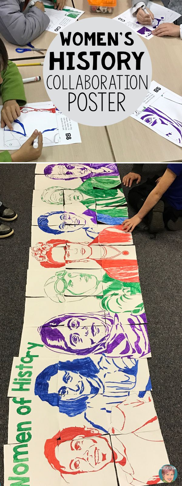 "Students will work together on this Women's History Month activity to create a collaboration poster of a variety of ""famous faces"" that have made a difference. Each student in class gets to participate in coloring and cutting out their piece and then putting the poster together. #artwithjennyk"