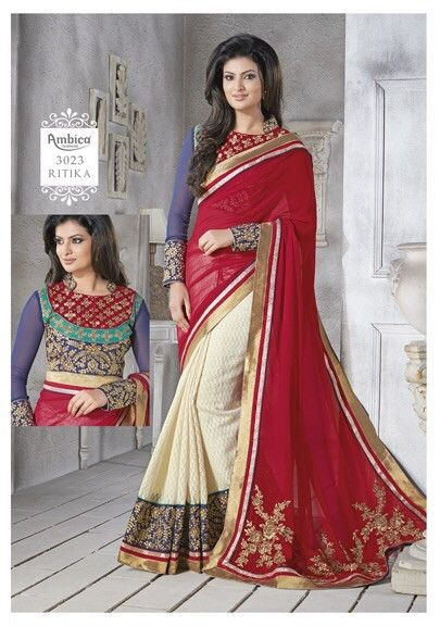RED CREAM AMBICA SAREE   Online Shopping Company : streetbazaar.in