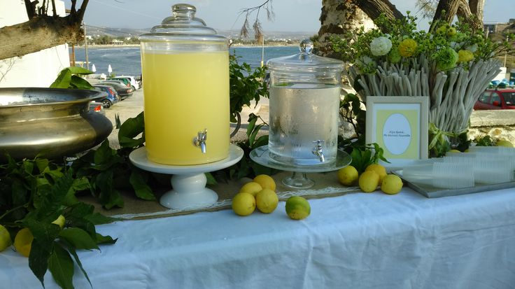 lemonade table at the church styled by islandevents.gr