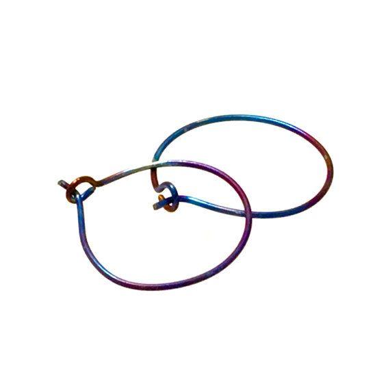 Large titanium rainbow hoop earrings by StudioContinuum on Etsy