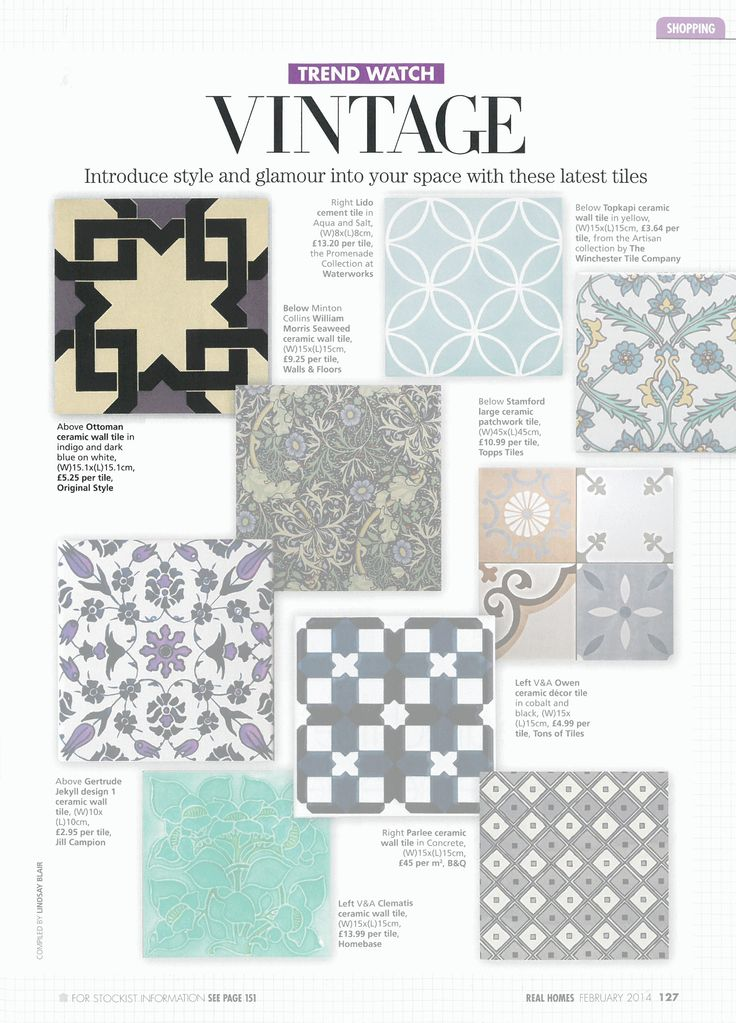 Real Homes - February 2014. A look at vintage style tiles, including our Odyssey Alhambra tiles in indigo and dark blue.