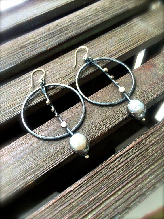 Freshwater Pearl Full Moon Boho Earrings by DeliasStudioLimited
