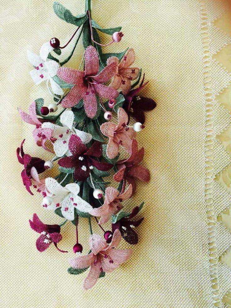 iğne oyası çiçek buketi