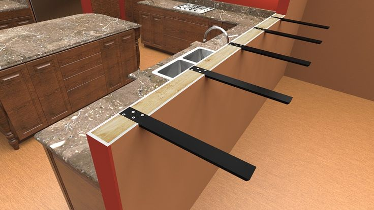 countertop seating overhang | ... before view installed on a knee wall supporting an 18 inch overhang