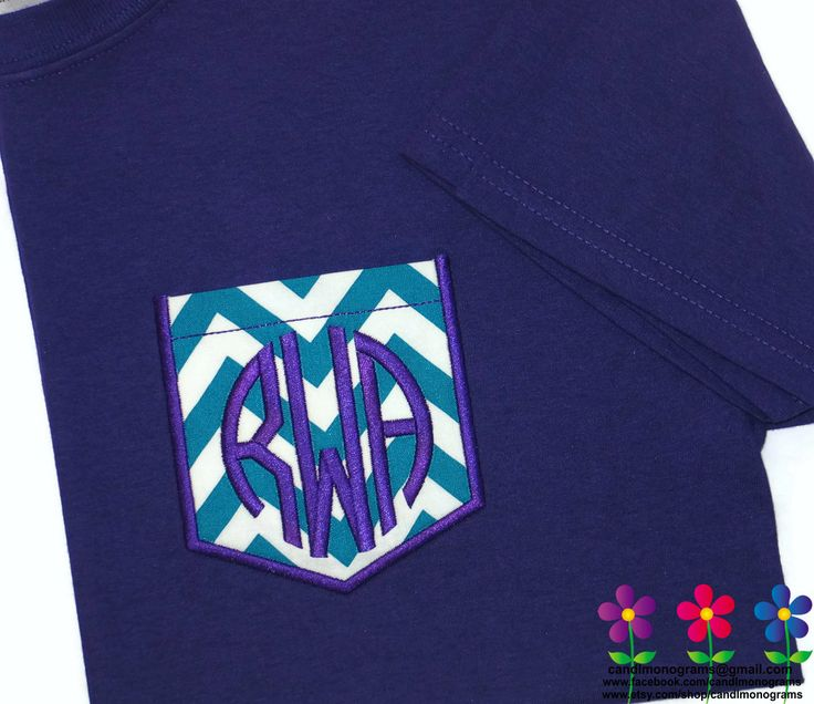 Kid's Girl's Monogram Pocket Tee Chevron Short Sleeve ~Lots of Colors~ Custom Embroidered Personalized ~ Child's Kids T-Shirt by CandLMonograms on Etsy All pockets are interchangeable with any size t-shirt.