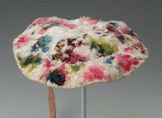 1750-75 woman's feather hat (bergère), French or English (resembles a painter's palette)