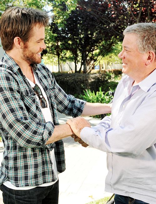 """dailychrispine:  """"He's a lovely young man, who is really talented and looks really good. He's got the demeanor, the body and the voice. So along with being a good actor, he's got all the right equipment."""" – William Shatner on Chris Pine"""