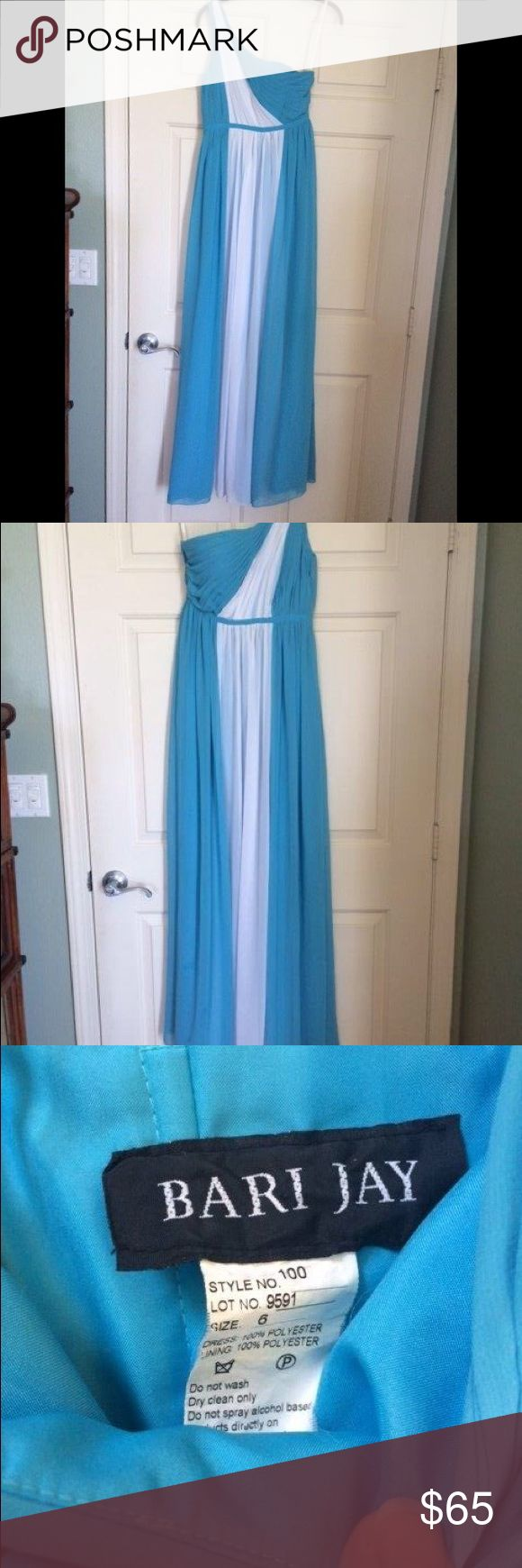 Blue and White One Shoulder Formal Dress For Sale is a beautiful, vintage, blue and white chiffon, one-shouldered long dress. It is reminiscent of what a Grecian Goddess would wear. It does run just a bit small. Bari Jay Dresses One Shoulder