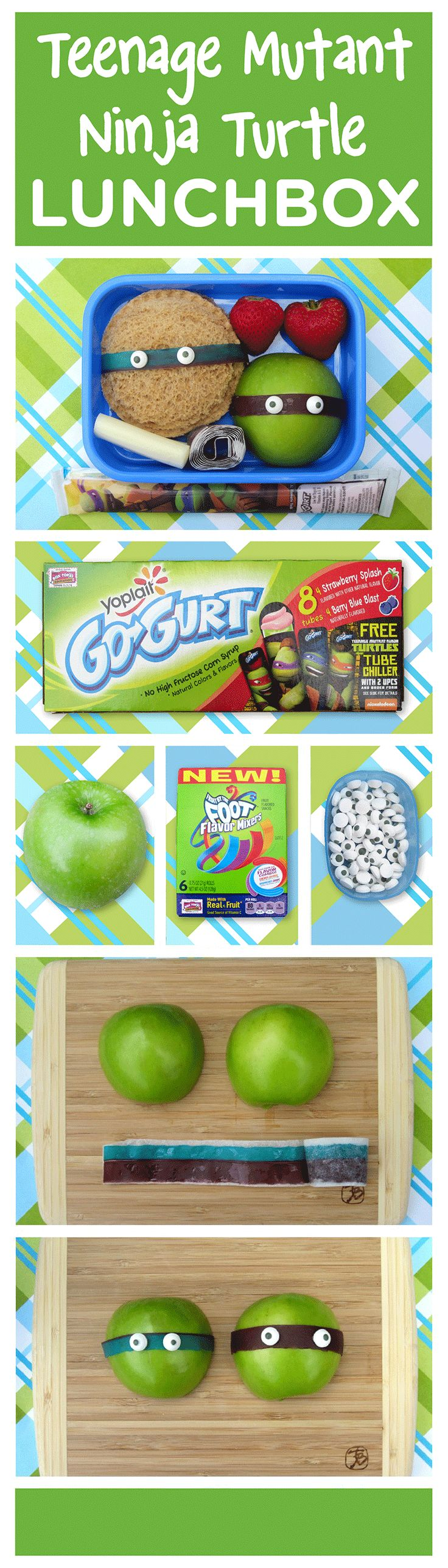 Looking for an easy lunch box idea for your Turtle fan? Shannon Carino of BentoLunch.net partnered with Go-GURT® to create this easy, fun lunch for back to school fun! To re-create, slice a green apple in half, and use a strip from a Fruit by the Foot Flavor Mixer to wrap around the apple. Place two candy eyeballs on each fruit strip to make a turtle, and secure with a bit of peanut butter. Visit gogurt.com/lunchbox for more ideas!