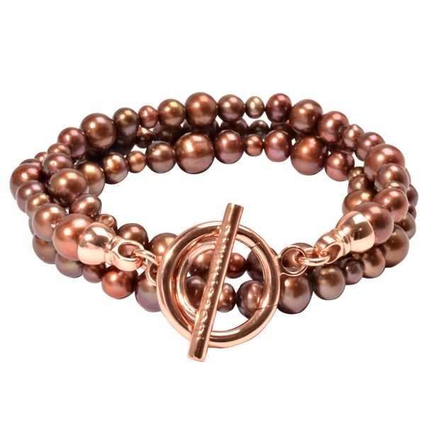 BY03RGM Rose Gold plated brown pearl bracelet size M, also available in L #NikkiLissoni