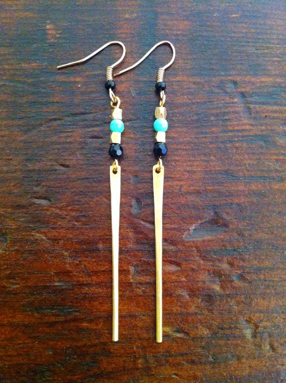 Tribal style dangle earrings with turquoise and black seas beads and salvaged brass drops. Minimalist earrings on Etsy, $16.45