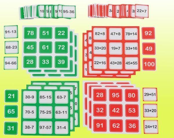 MATEMATYKA :: Pomoce Edukacyjne bingo dodawanie i odejmowanie