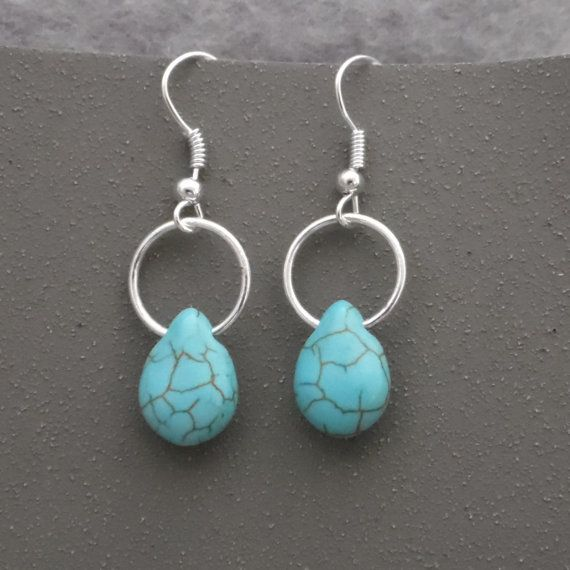 Dangle Earrings, Turquoise Hoop Earrings, Silver and Turquoise Earrings