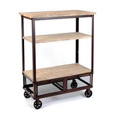 rustic 3-shelf rolling kitchen cart | rolling kitchen cart and