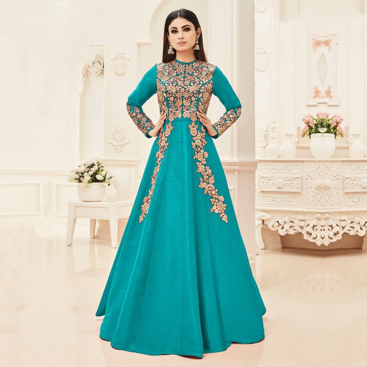 Buy Green Cotton Silk Floor Length Anarkali Suit online India, Best Prices, Reviews - Peachmode