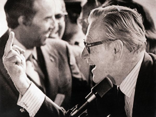 At a campaign stop for Sen. Bob Dole in 1976, Vice President Nelson Rockefeller was heckled by protesters who disagreed with the administration's Vietnam policy. They gave him the single finger salute. He returned the love.