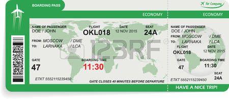 pass: illustrazione del modello di biglietto d'imbarco aereo. Concetto di viaggio, viaggio o di lavoro. Isolati su bianco. Vettoriali
