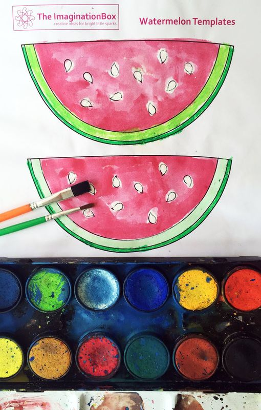 The ImaginationBox: free watermelon colouring template for kids, works great with watercolour paints