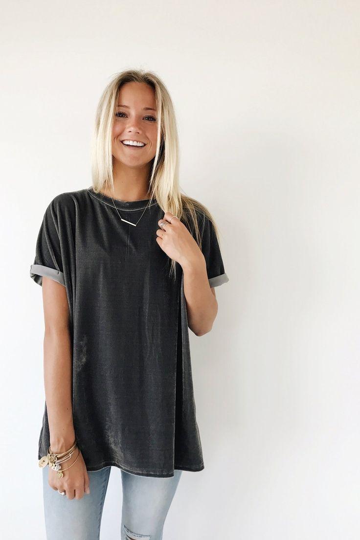 Graphite Velvet Tee  Rolled Short Sleeve Cuff  Split Side Seams  Loose Fit