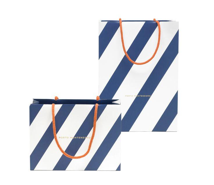 stripes with pop of orange, Porto Montenegro identity