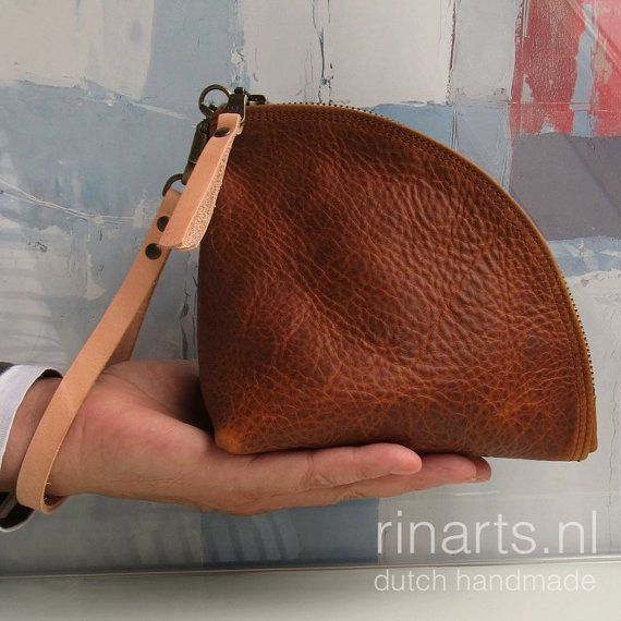 Clutch / leather zipper pouch / leather bag organizer / leather wristlet / triangle bag Q-bag (Quarter bag) in cognac pull up leather