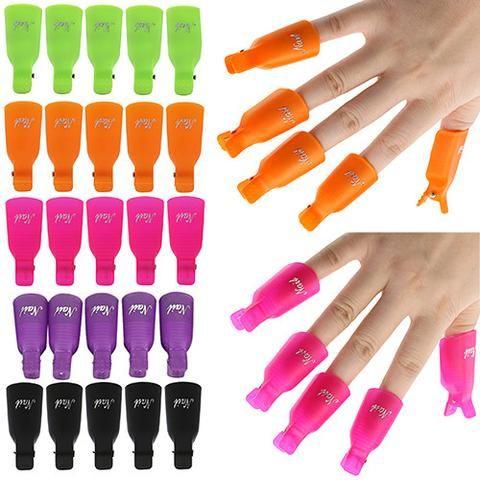 10Pcs 7 color Plastic Acrylic Nail Art Soak Off Clip Cap UV Gel Nail Polish Remover - Glamorous Gift Ideas