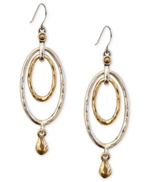 Lucky Brand Earrings, Two-Tone Oval Orbital Drop Earrings - Yellow