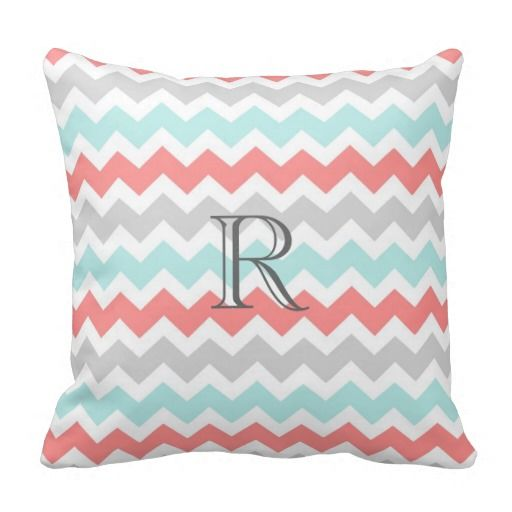 Elegant and modern peach orange pink, aqua turquoise blue, grey and white casual and retro chevrons zigzags stripes pattern monogrammed decorative throw pillow. Fully customizable, add your initial for a truly unique home decor item.
