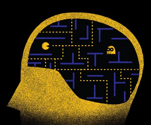 Brain Games Microglia are brain cells that trim/eat long synapses of material that no longer functions throughout the brain. Scientists have used the video game Pac-Man to explain.