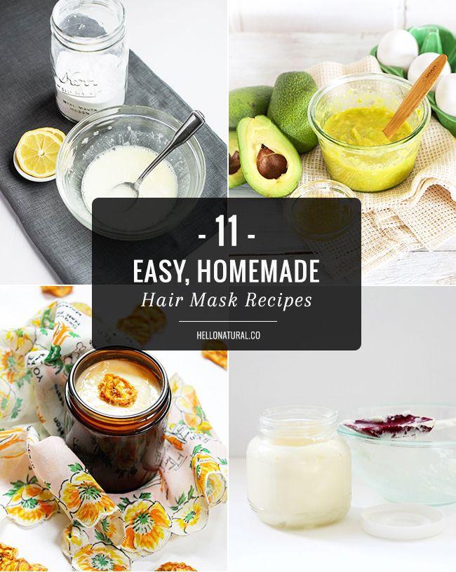 11 Easy, Homemade Hair Mask Recipes | http://hellonatural.co/11-easy-homemade-hair-mask-recipes/