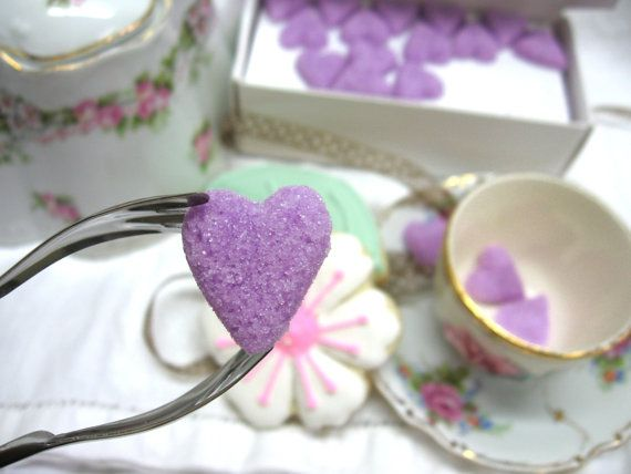 Violet Purple Hearts Sugar Cubes to Serve with by WishingwellArt