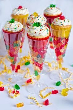 Boozy Gummy Bear Cupcakes-neat idea for new years