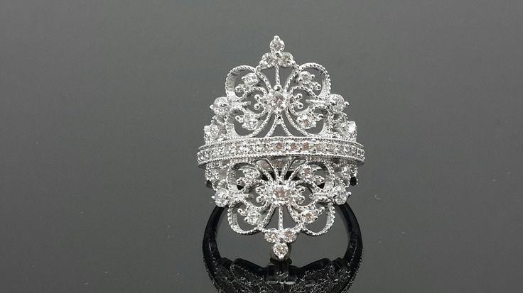 White filigree AAAAA grade cubic zirconia crown cocktail ring .925 sterling silver by IsaBellaJewellery on Etsy