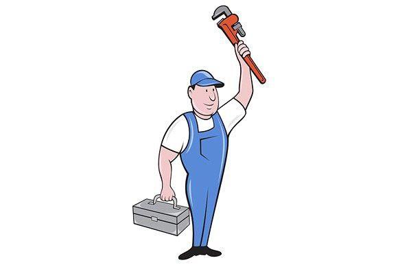 Plumber Toolbox Raising Monkey Wrenc With Images Cartoon Styles Retro Illustration Plumber