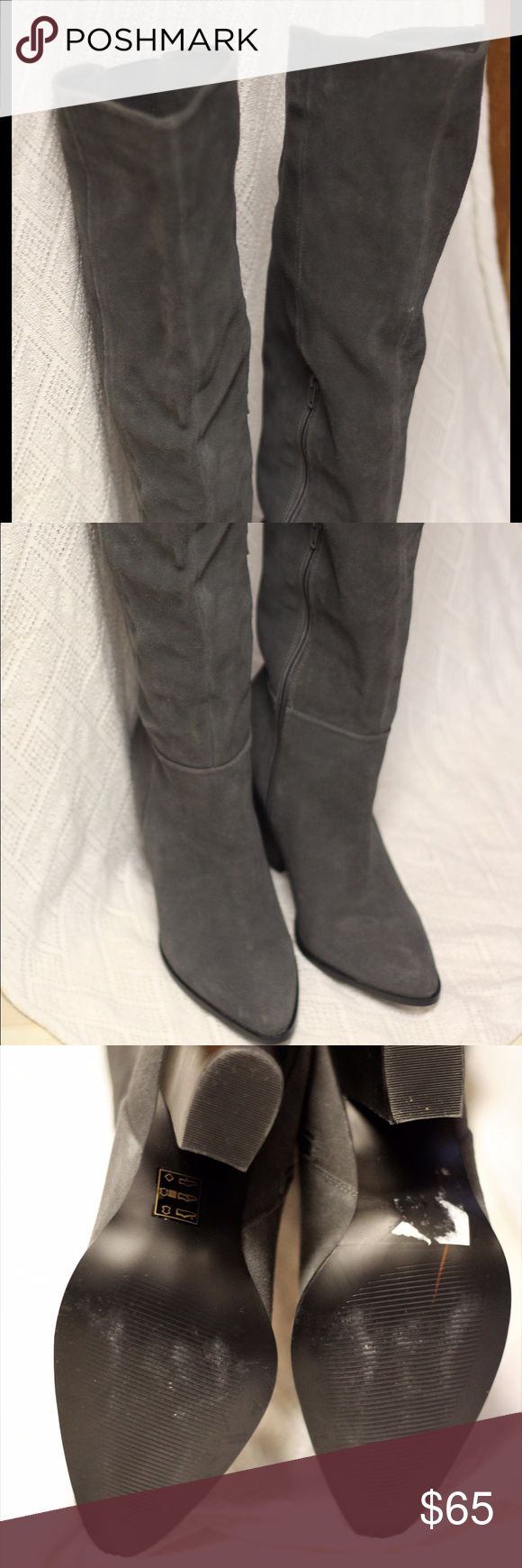 Suede Knee High Boots: Design Lab Parillo Very gently used, only worn about 5 times Soft suede shapes this trendy to-the-knee style. - Design Lab Lord & Taylor Parillo Suede Knee-High Boots #suede #kneehigh Design Lab Shoes Heeled Boots