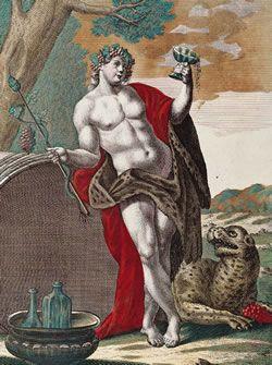 Representação do deus Baco em gravura da primeira metade do século XVIII. Na história das drogas o vinho ocupou lugar de destaque, associado ao deus greco-romano Dioniso/ Baco. No cristianismo, foi associado ao sangue de Jesus. (Imagem: Fundação Biblioteca Nacional)