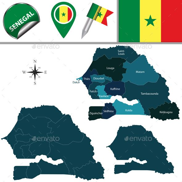Map of Senegal with Named Regions by sateda2012 Vector map of Senegal with named regions and travel icons. Package contains: EPS (10 version), JPG (5000脳5000 pixels, RGB)