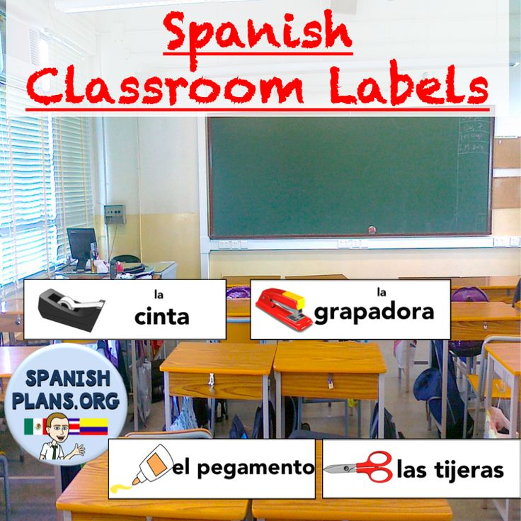 Free Spanish Classroom Labels: 30 labels for classroom objects