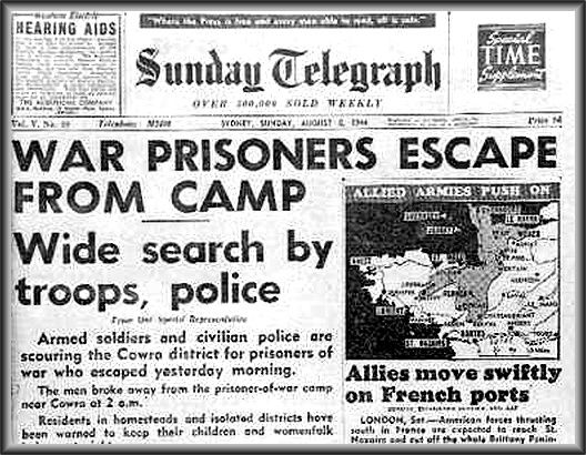 The greatest prison break in history took place from the POW camp at Cowra, Australia. The compound contained Japanese  Italian POWs. On the night of 4th August, 1,104 Japanese prisoners broke out of Compound B. In the indiscriminate shooting that took place during the breakout, 231 Japanese POWs were killed  107 wounded. 4 Australian guards were killed  4 wounded. In all, 334 Japanese escaped from the camp and in the hunt that followed, 25 died by shooting and suicide.