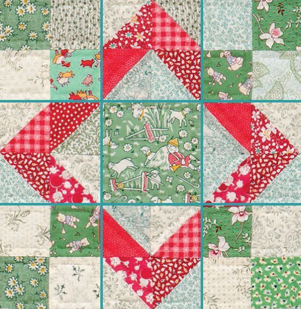 """.The term """"Nine Patch"""" refers to the tried-and-true quilt block pattern, but did you know it also refers to an entire category of blocks? Any block that has seams that divide units equally into nine sections falls into the Nine Patch category (like the """"B - Picmia"""