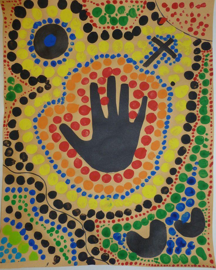 Ms Maggie Mo's Australian Aboriginal hand dot painting. Trace hand & cut out, or make paint handprint, draw symbols for what's important in your life (u shapes=people, circles=places), paint dots with dowel rods dipped in paint.