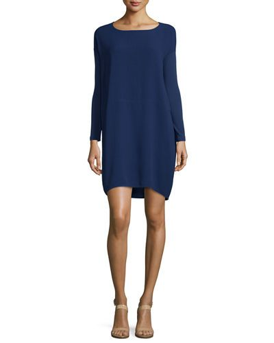 Eileen+Fisher+Long+Sleeve+Silk+Dress+Plus+|+Clothing