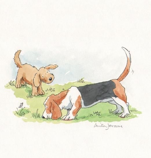 """Muttsy Playing with a Friend"" by Anita Jerum"
