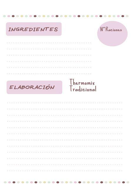 Pon tus recetas ordenadas y más bonitas. Hoja Recetario lista para imprimir