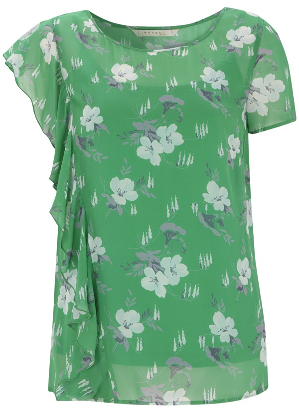 Rachel Print Top with Waterfall Frill & Cami in Bright Apple