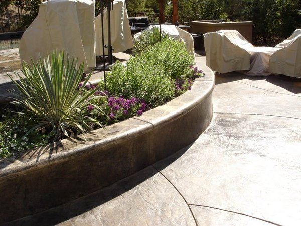 Nice Stamped Concrete Seat Wall And Planter Wall Seating