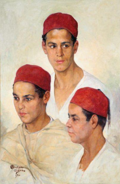 Emile DECKERS (1885-1968) - Trois portraits de jeunes algériens