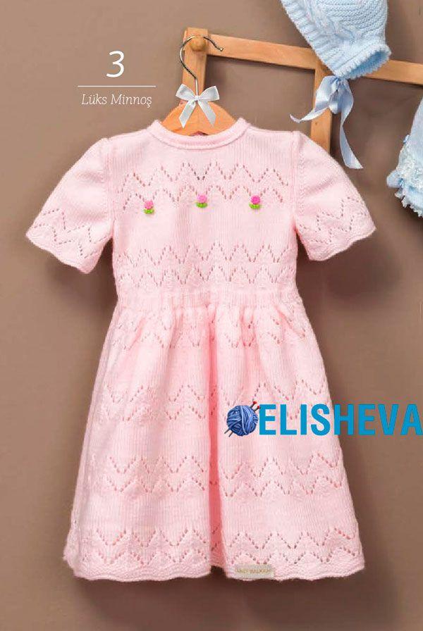"""Нарядное ажурное платье для девочки """"Розовые зигзаги"""", вязаное спицами   Блог elisheva.ru"""