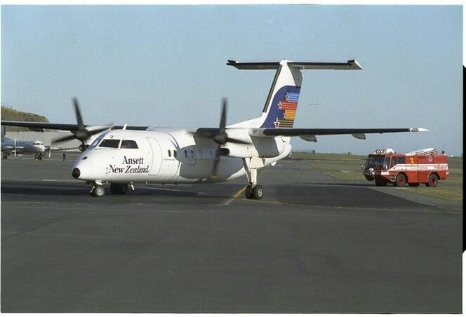 Ansett New Zealand De Havilland Canada DHC-8-300 Dash 8 aircraft, probably at Wellington Airport. Photograph taken July 1991 by Evening Post staff photographer John Nicholson.