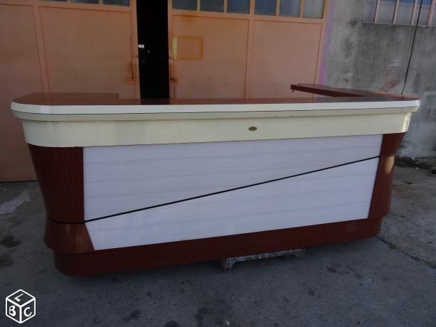 Comptoir de bar Années 60 en formica + arrière